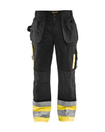 Blaklader 1529 High Visibility Trousers 65% Polyester, 35% Cotton (Black / Yellow)